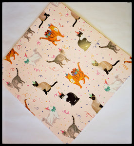 "Party Cat   2 Sheets in a pack   20"" x 30"" (51cm x 76cm)   Arrives folded in package 10"" x 10""   Gift wrap contains 100% recycled fiber ADA The Gilded Page Santa Fe New Mexico Online"