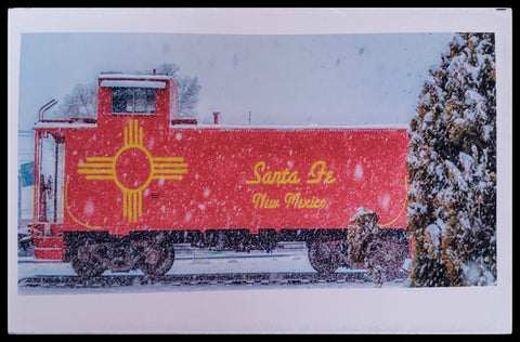 "ADA Christmas Caboose  BLANK INISDE   Matte   5.5"" x 7.5"" with envelope     Holiday Cards, The Gilded Page Santa Fe, New Mexico Online"