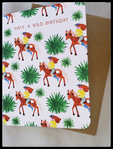 "ADA Have A Wild Birthday Greeting Card BLANK INSIDE   Printed on recycled paper, with soy ink   Kraft envelope   4.5"" x 6"" with envelope     Birthday Cards, The Gilded Page Santa Fe, New Mexico Online"