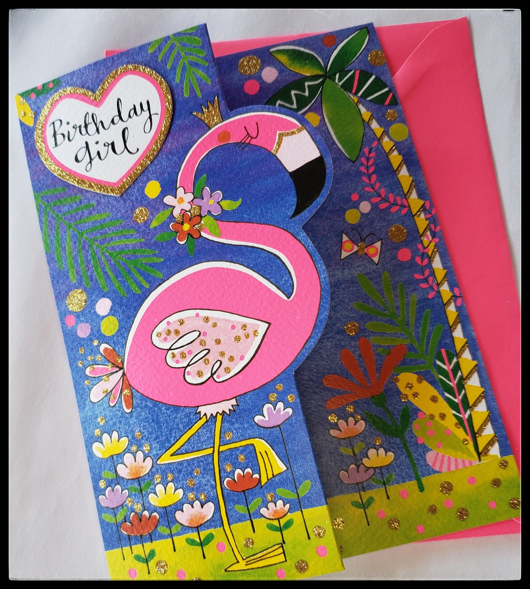 "ADA Flamingo Birthday Girl Greeting Card  BLANK INSIDE  3D Free Standing   Gold glitter accents   Bright color envelope   5.5"" x 7.5"" with envelope     Birthday Girt Cards, The Gilded Page Santa Fe, New Mexico Online"