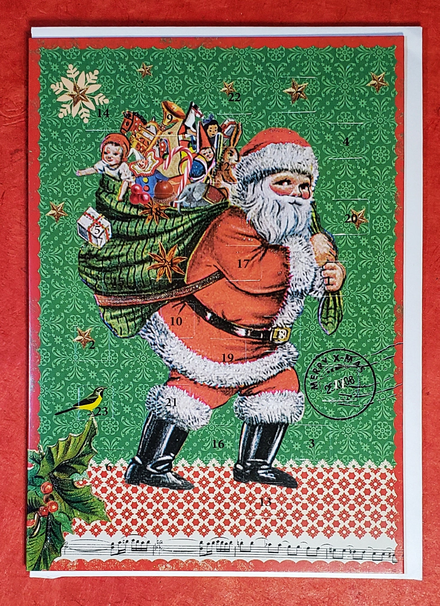 Vintage Santa Mailable Advent Calendar Card