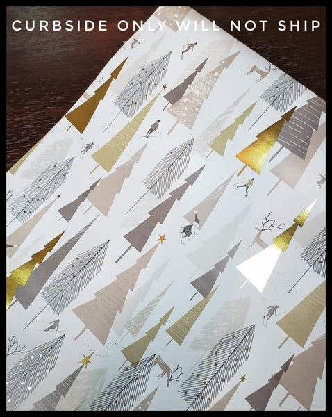 Gold Skiing 2 Pack Holiday Sheet Paper