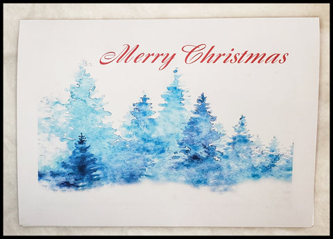 Merry Christmas Blue Trees Single Card