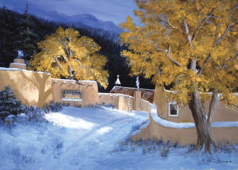"Message Inside: May the Blessings and Joy of the Season-Be with You Throughout the Coming Year 12 cards & envelopes   All same image   5.5"" x 7.5"" with envelope   Call for bulk order  CHR-336     Holiday Cards, The Gilded Page Santa Fe, New Mexico Online  ADA"