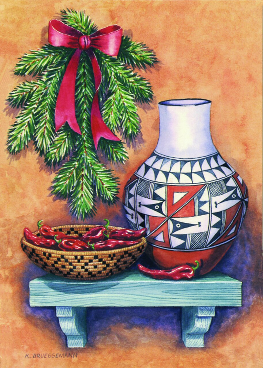 "Message Inside: Wishing You A Bright and Beautiful Christmas And A Very Happy New Year 12 cards & envelopes   All same image   5.5"" x 7.5"" with envelope   Call for bulk order  CHR-380     Holiday Cards, The Gilded Page Santa Fe, New Mexico Online ADA"