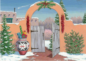 "ADA Message Inside: Warmest Holiday Greetings  12 cards & envelopes   All same image   5.5"" x 7.5"" with envelope   Call for bulk order  CHR-675     Holiday Cards, The Gilded Page Santa Fe, New Mexico Online"