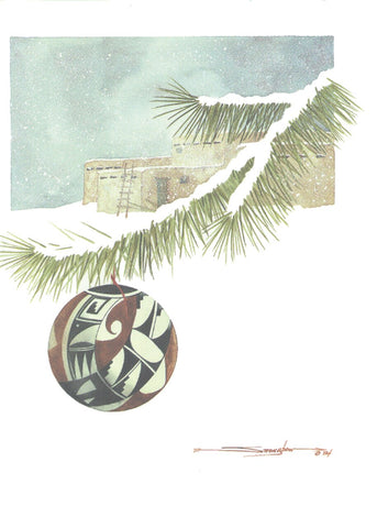 Pueblo Winter by Dyanne Strongbow 12 Pack Holiday Cards