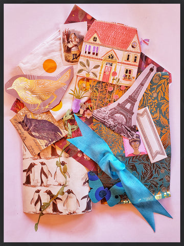 Decorative Collage Package.  30 plus crafting papers, ribbons, and other found treasures can be found in our decorative paper collage packs 8.5 x11 inches package ADA The Gilded Page Santa Fe