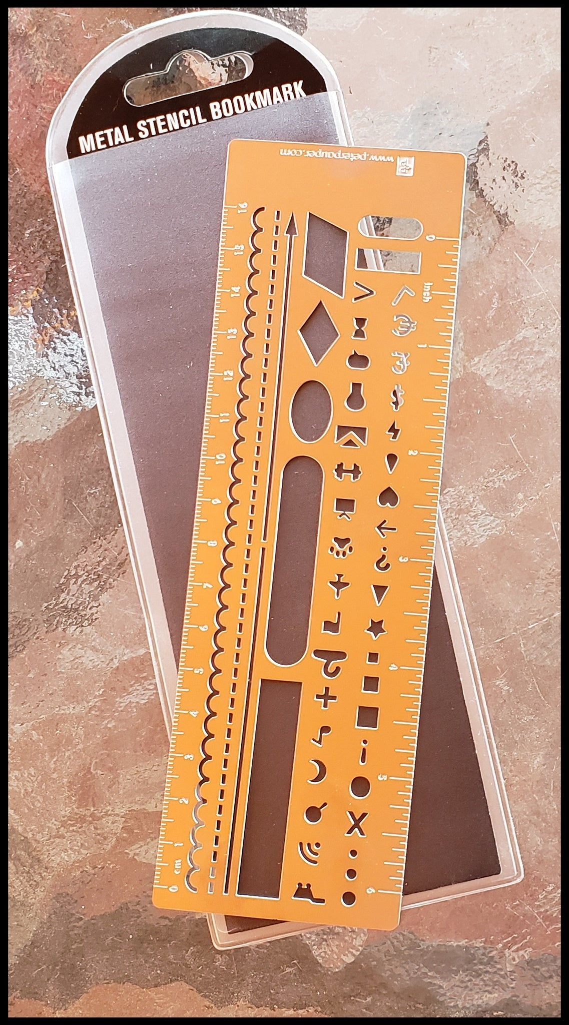 Metal bookmark ruler and stencil for bullet journaling 2.50  x 7.13 inches  ADA The Gilded Page Santa Fe
