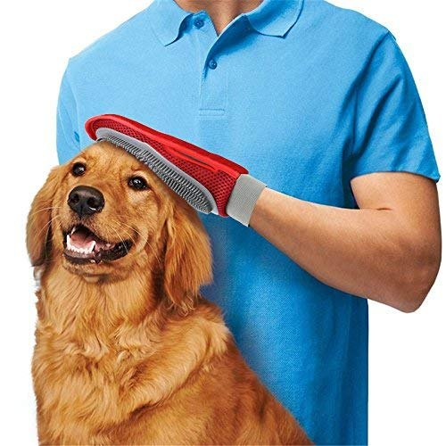 2-in-1 Soft Pet Grooming Rubber Glove for Dogs and Cats Hair Remover Brush Deshedding