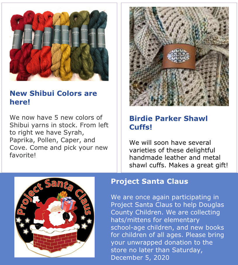 New Shibui Colors are here! Birdie Parker Shawl Cuffs! Project Santa Claus