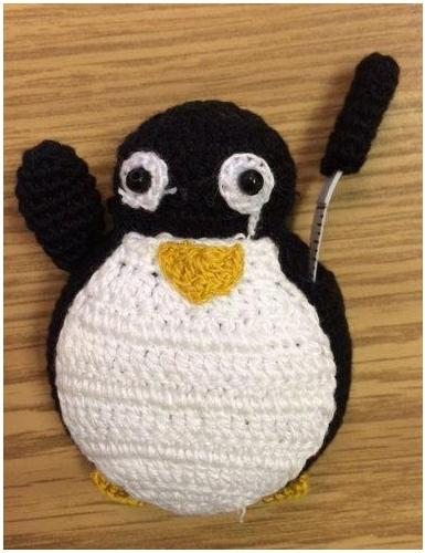 Crocheted Tape Measure Penguin