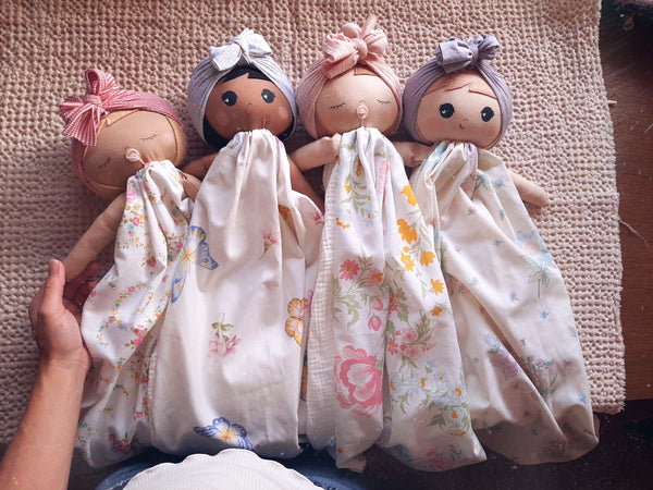 12 Doll lovey, vintage sheet floral, security blanket collection 14