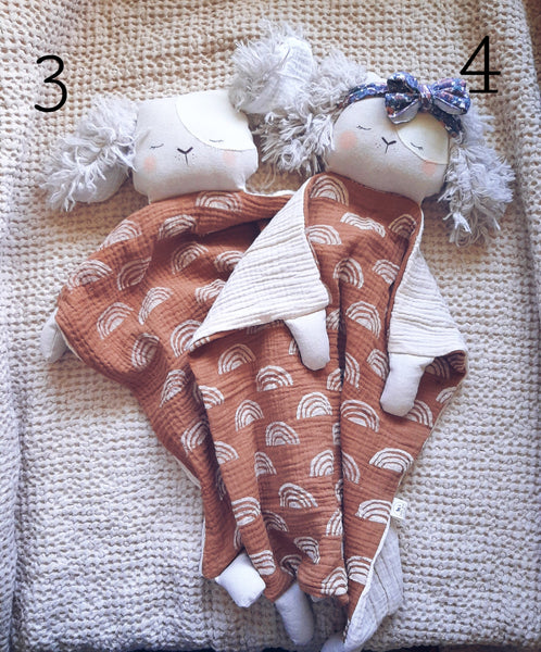 animal lovey, security blanket collection The Sleepy Crescent collab
