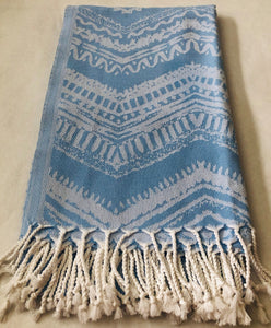 Blue Boho Smart Towel - 100% Natural Cotton Turkish Towel - KarmaDNA