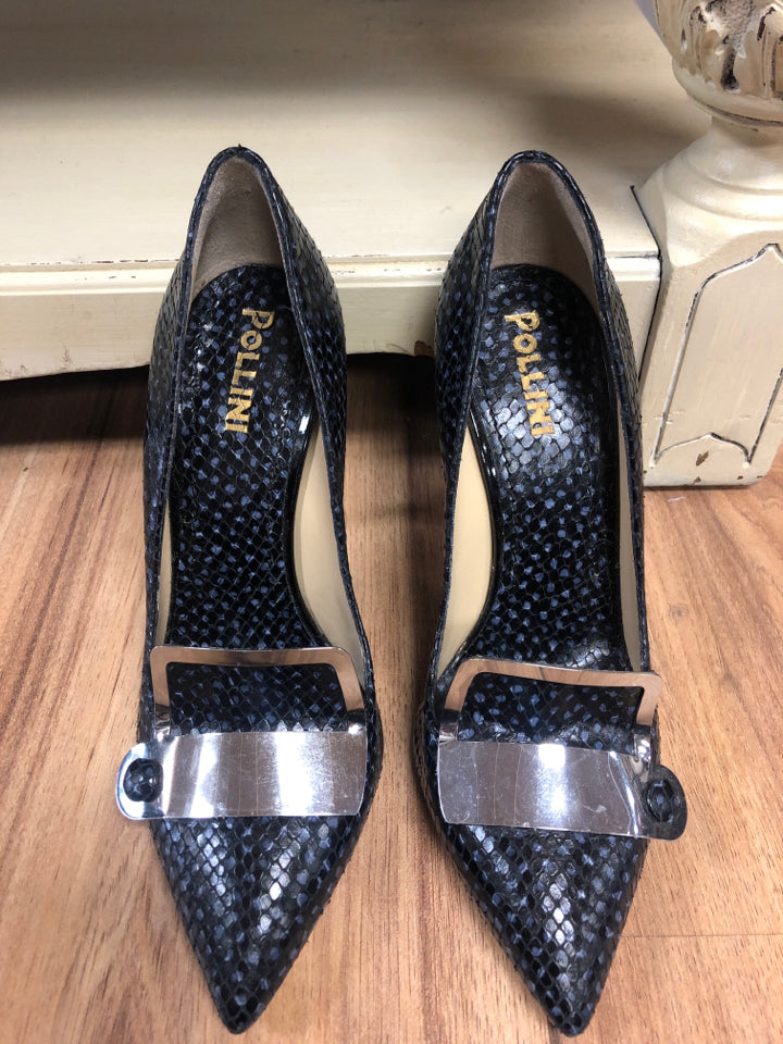 Pollini Size 37 Black Leather Pump