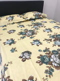 Yellow Floral King Flat Sheet Set