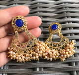 Vintage Blue Stone studded Etnic Bollywood Chandbali Earings