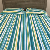 Blue Stripes Cotton Flat Sheet Set