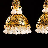 Retro Bollywood Oxidized Indian Earrings Ethnic Lotus Flower Carved White Beads Tassel