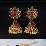 Antique Ethnic Gold Alloyed Leaf Carved Bell Tassel Drop Earing