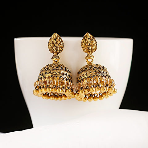Golden Drop Indian Jhumka Earrings