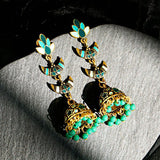 Vintage Green Ethnic Jhumka Earrings