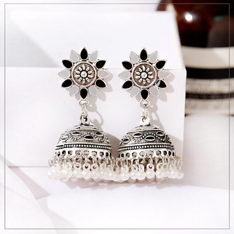 White Beads Oxidized Jhumka Earrings
