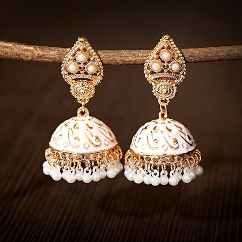 Indian Ethnic Jhumka Earrings White