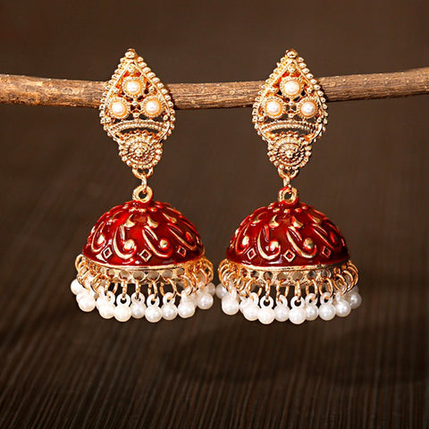 Indian Ethnic Jhumka Earrings Red
