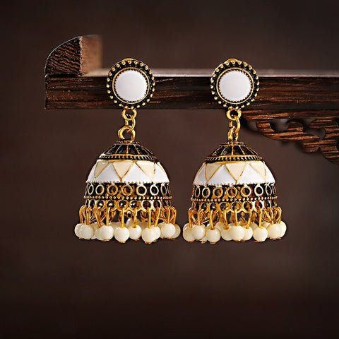 Women Ethnic White Jhumka Earrings