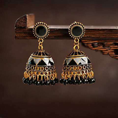 Beautiful Black Beads Indian Jhumki Earrings