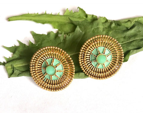 Green & Gold Fashion Tops Ethnic Earings