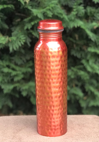 950ml Pure Copper Water Bottle Hammered Red