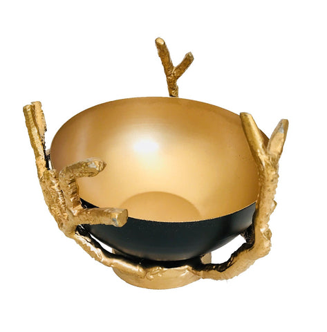 Iron Small Black Bowl With Gold Twigs Stand