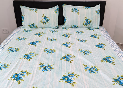 Blue Floral Queen Flat Sheet Set With 2 Pillow Covers