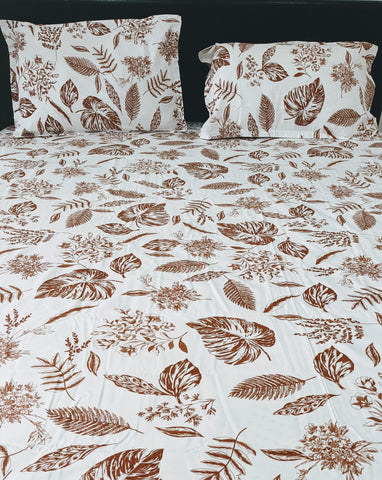 Cream Leaf Print King Flat Sheet Set
