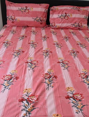 Pink Floral King Flat Sheet Set
