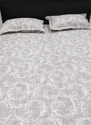 Pure Cotton Leaf Pattern Fitted Sheet Set With Elastic