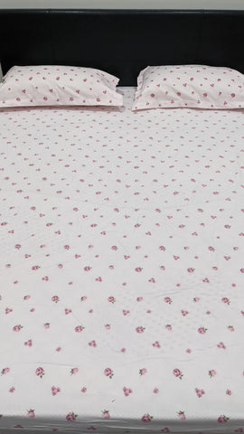 Light Pink Floral Pattern Fitted Sheet Set With Elastic