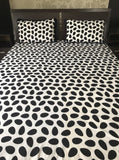 Black and White Cotton Queen Flat Sheet Set
