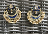 Women Blue Indian Bollywood Chandbali Earrings Party Jewellery