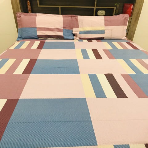 Multicolour Check Print King Flat sheet Set