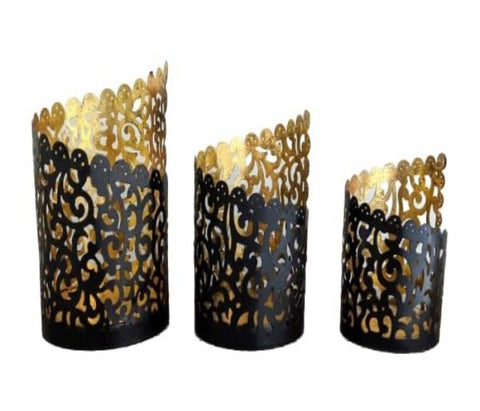 Set of 3 Carved Black Candle Votives