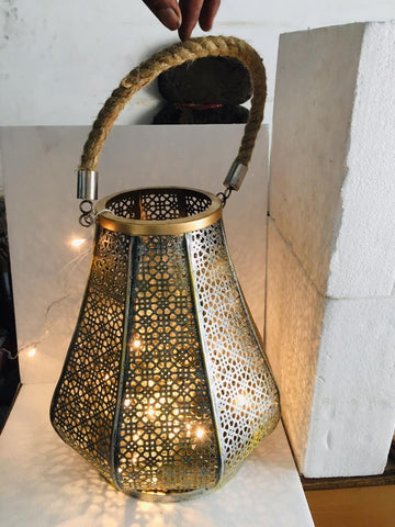Black & Gold Rustic Metal Lantern