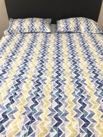 Blue & Yellow Zig Zag Print Fitted Sheet Set