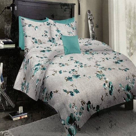 Blue Floral King Flat Sheet Set