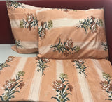 Peach Floral King Flat Sheet Set