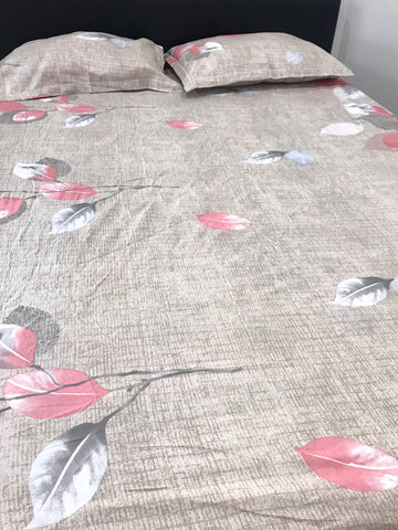 Light Brown Leaf Printed Queen Fitted Sheet Set