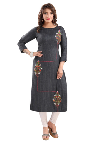 Carbon Black Embroidered Kurti